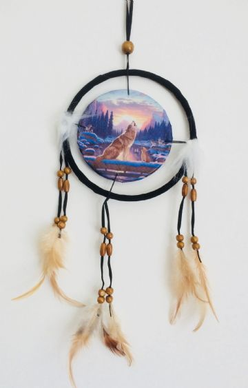 Printed DREAM CATCHER Small Diameter 9cm - Two Wolves Howling